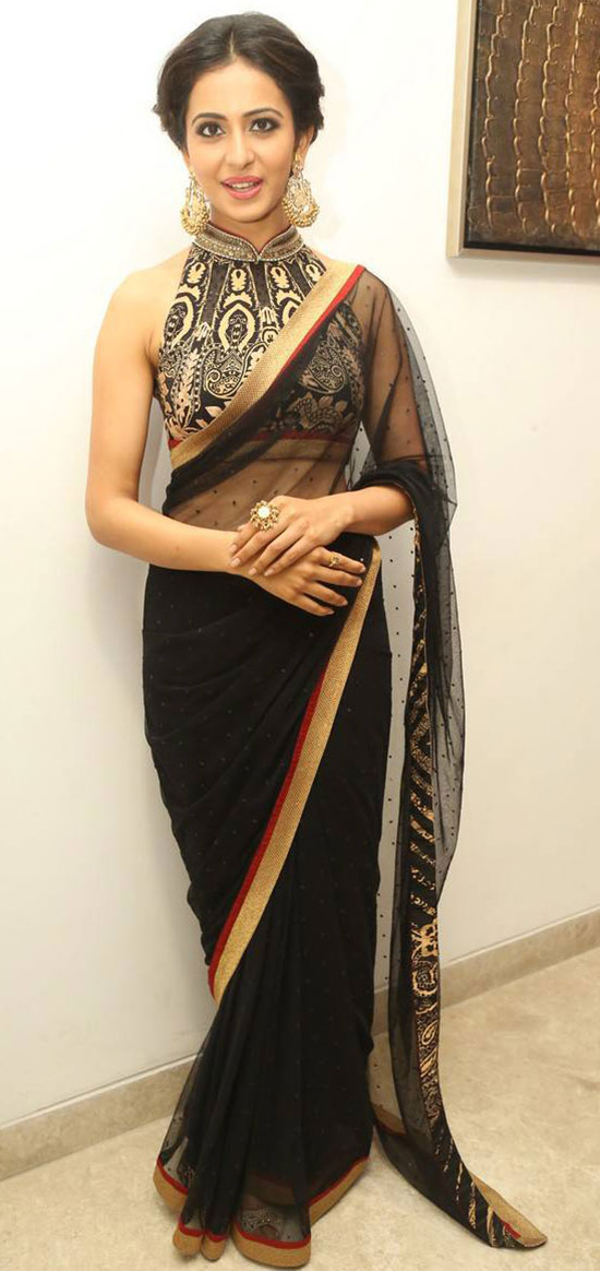 Rakul Preet Singh In Black Net Saree With High Collar Halter Designer Blouse
