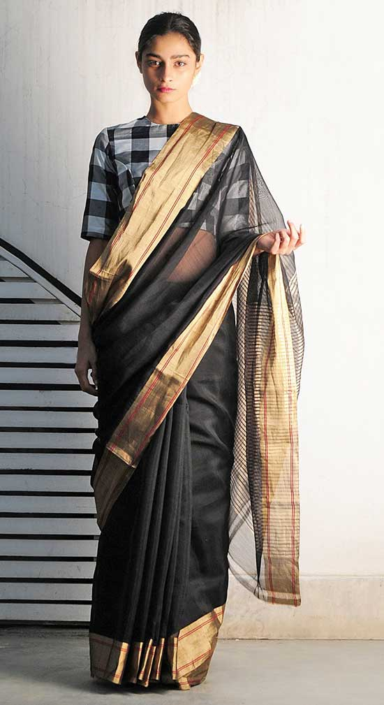 Rangeen Black Chanderi Handwoven Saree With Checks Blouse