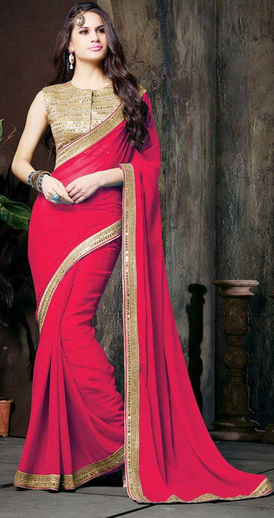 Red Chiffon Saree With Sleeve less Blouse