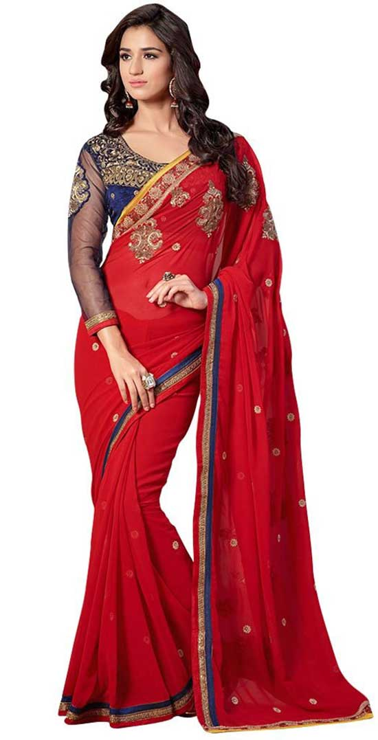 Red Color Saree With Blue Velvet Scooop Neck Shape Net Blouse