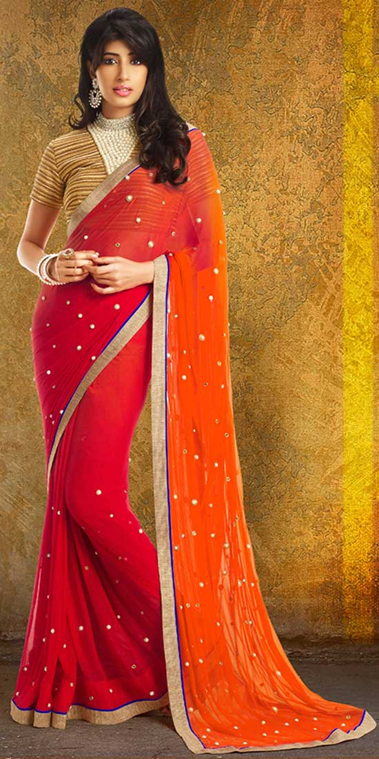 Red and Orange Double Dye Faux Chiffon Saree With Blouse