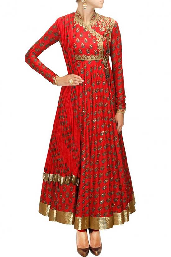 Red block printed angrakhastyle anarkali