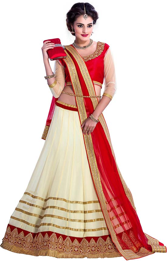 Rich Quality Russon creame lehenga choli