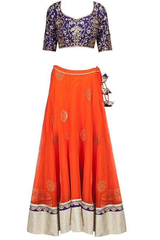 Royal blue embroidered blouse with orange banarasi net lehenga