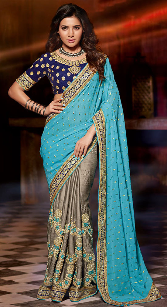 Samantha-in--Grey-N-Blue-saree
