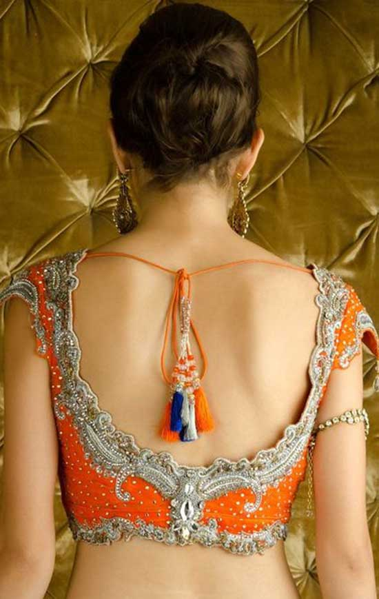 Sequined Orange back blouse design