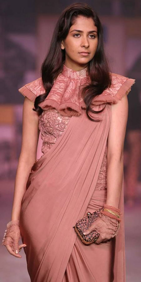 Shantanu-Nikhil-Rose-saree-with-ruffled-blouse