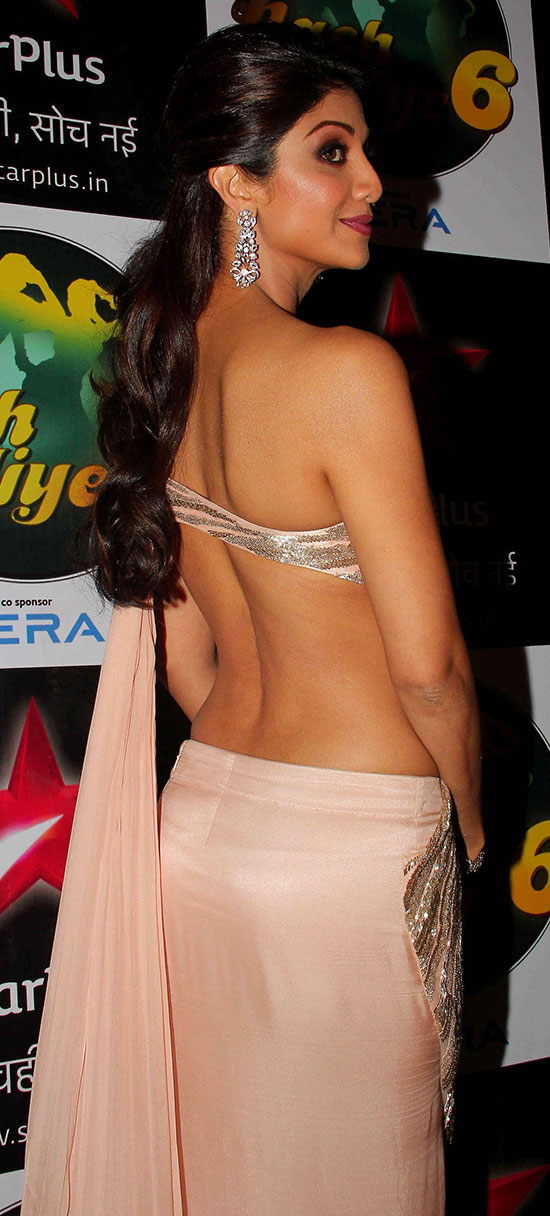 Shilpa Shetty In Cream Saree