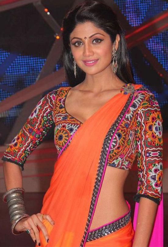 Shilpa Shetty In Orange Saree