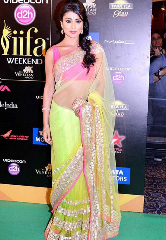 Shriya Saran Green and Pink Heavy Saree
