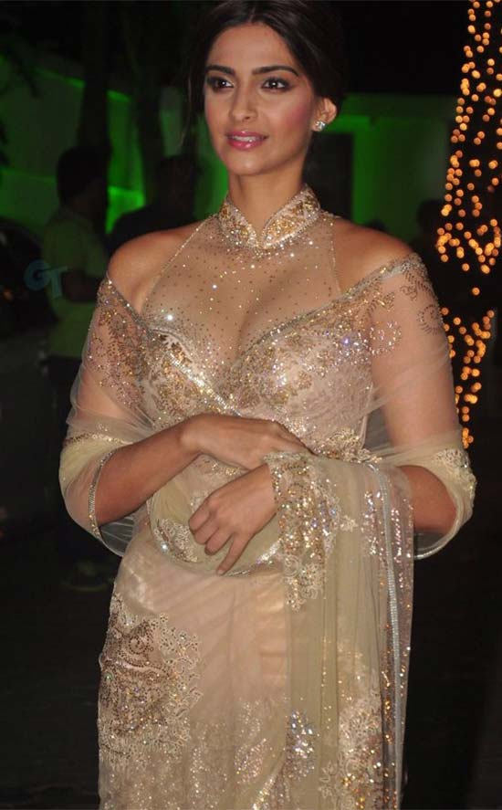 Sonam-Kapoor-in Cream Transparent Net Saree