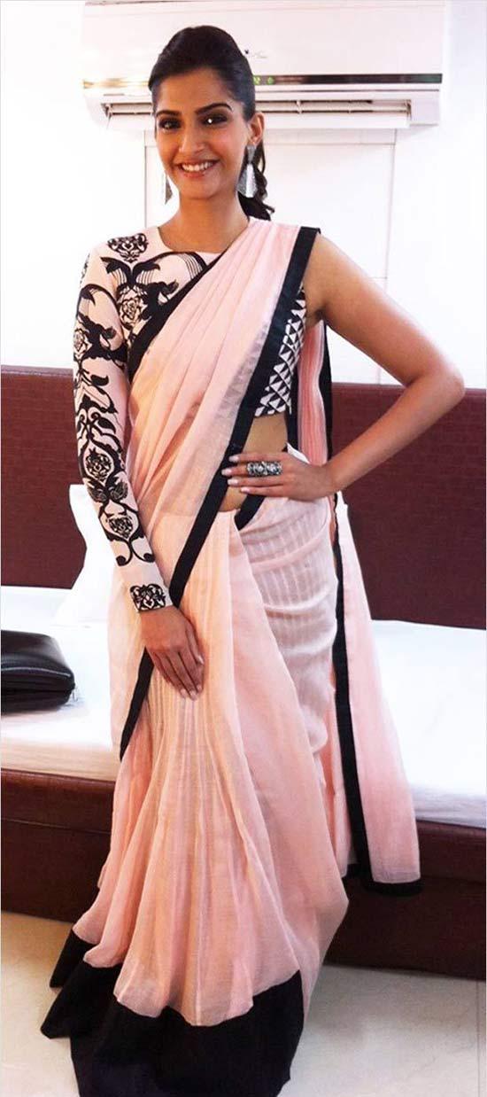 Sonam Kapoor in pink and black Saree