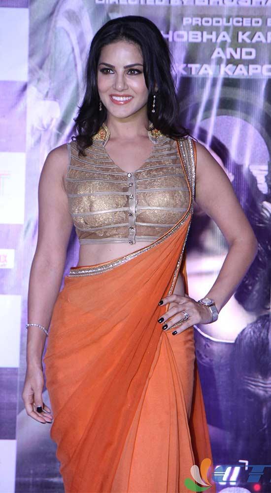 Sunny Leone In Orange Saree