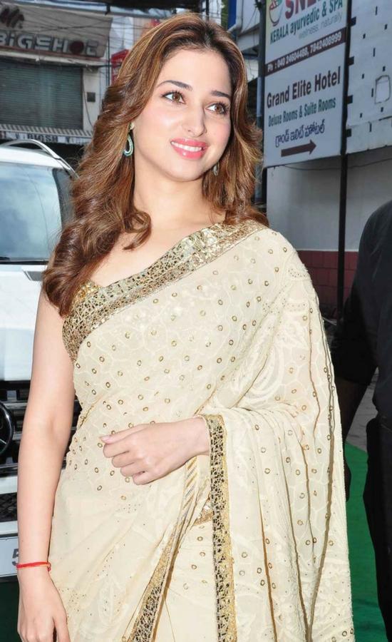 Tamanna Bhatia In Cream Gold Saree & Sleeveless Blouse
