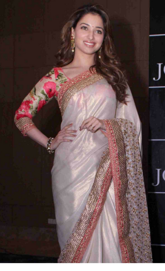 Tamanna Bhatia In White Saree With Halter Blouse