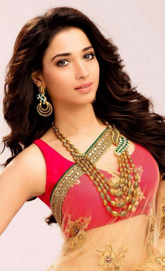 Tamanna Bhatia In Gold Transparent Work Saree With Red Blouse