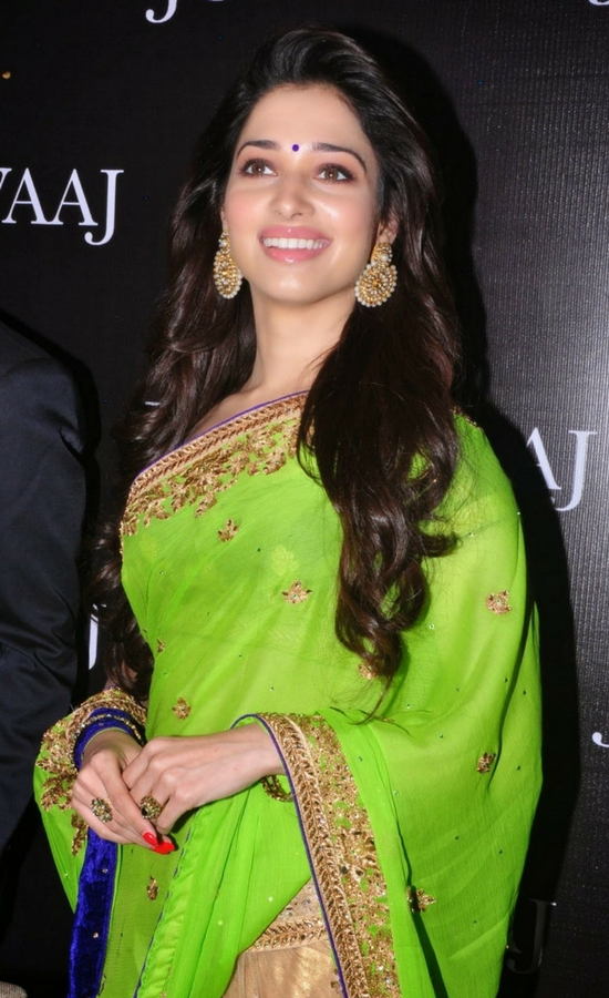 Tamanna Bhatia In Green Embroidery Saree