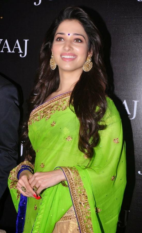 Tamanna Bhatia In Green Embroidery Saree