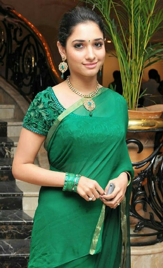 Tamanna Bhatia In Green Saree With Embroidery Blouse