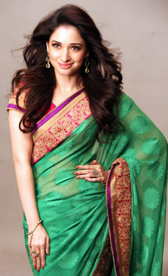 Tamanna Bhatia In Green Saree With Embroidery Lace