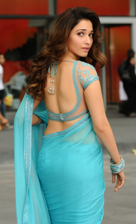 Tamanna Bhatia In Ice Blue Net Saree With Sequins Blouse