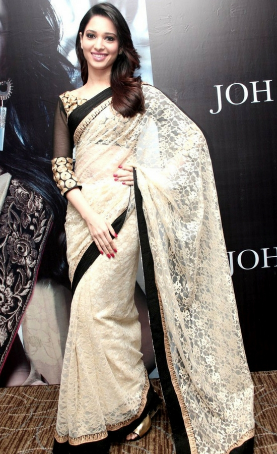 Tamanna Bhatia In Net Saree with Banarasi Blouse and Satin inner with Multi Sequence Multi work
