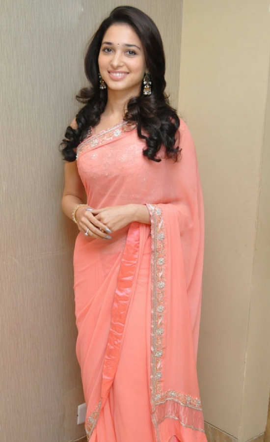 Tamanna Bhatia In Pink Worked Saree