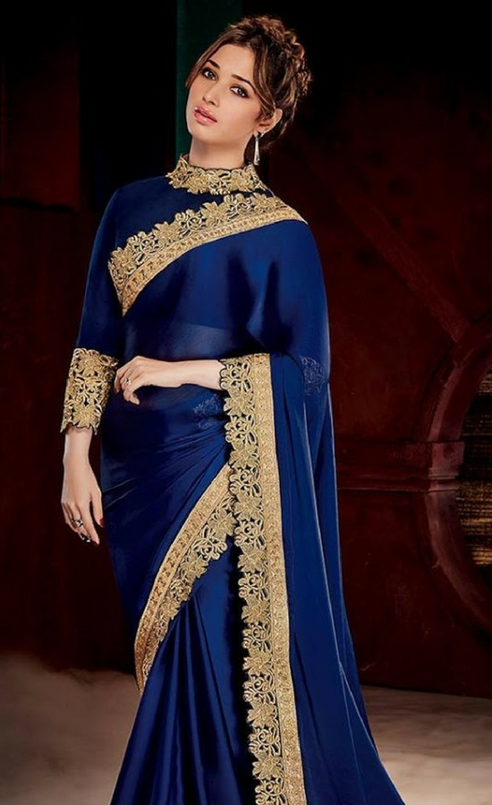 11 Tamanna Bhatia In Royal Blue Saree With Gold Lace