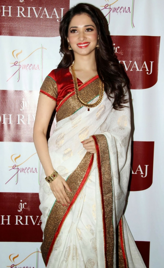Tamanna Bhatia In White Saree With Gold Lace Work