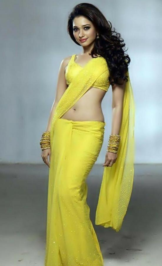 Tamanna Bhatia In Yellow Net Saree