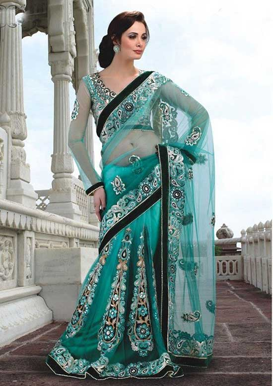 Teal Blue net saree With U Shape Neckline Full Sleeves