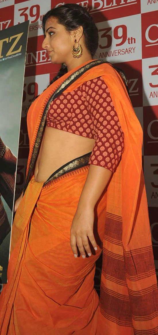 Vidhya-Balan-In-Orange-Saree