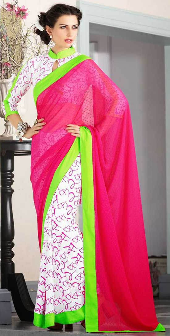 White And Pink Half And Half Saree With Collared Keyhole Neckline