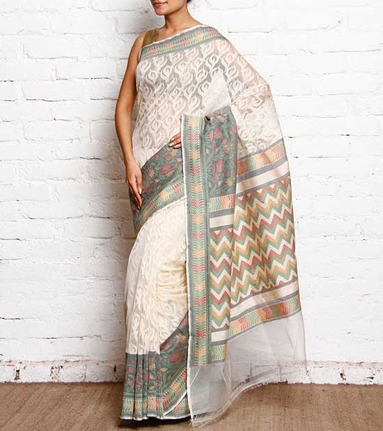 White Handloom Banarasi Kora Net Silk Saree