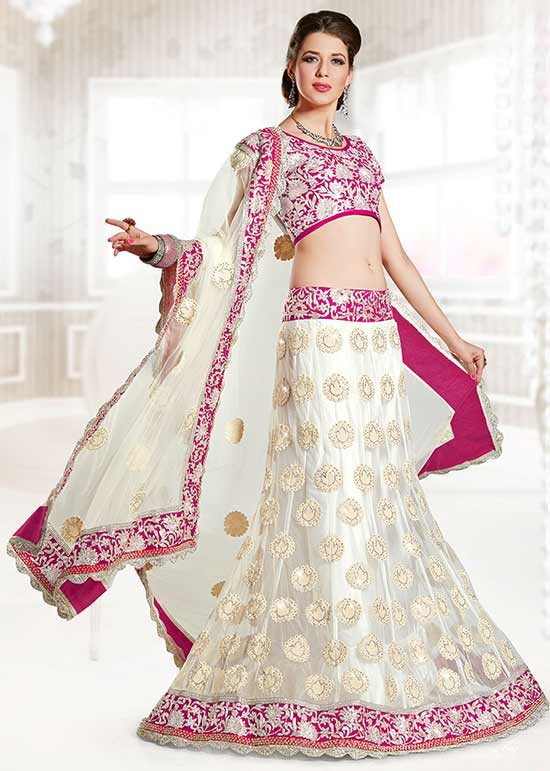 White Long Lehenga With Pink Embroidery Lace And Net Choli