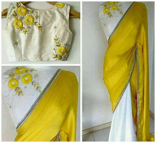 Yellow And White Embroidery boat Neck Blouse