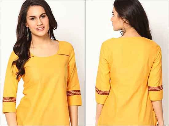 Yellow-Cotton-Kurta-Churidar Neck Designs