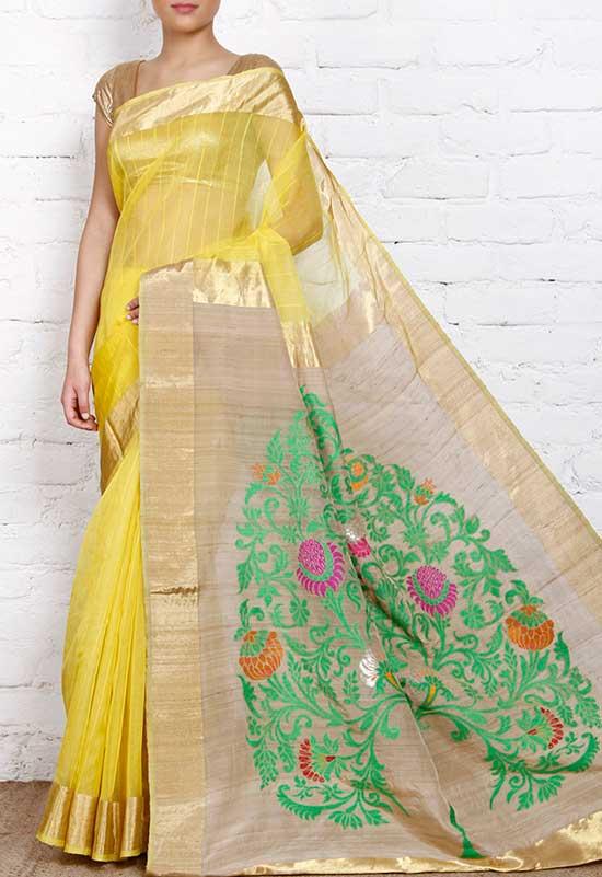 Yellow Kora Banarasi Saree