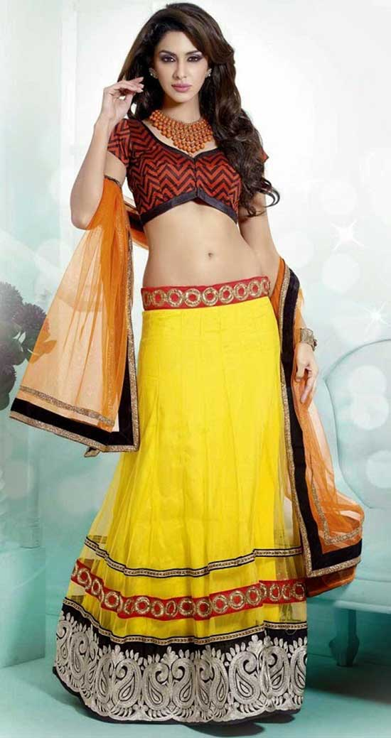 Yellow Net Lehenga Choli with Zardosi Work