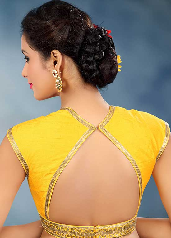 Yellow-Raw-Silk-Designer-Saree-Blouse