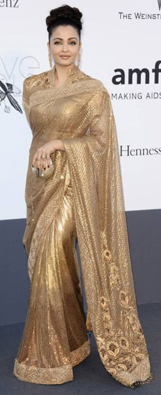 aishwarya-rai-in Gold color saree