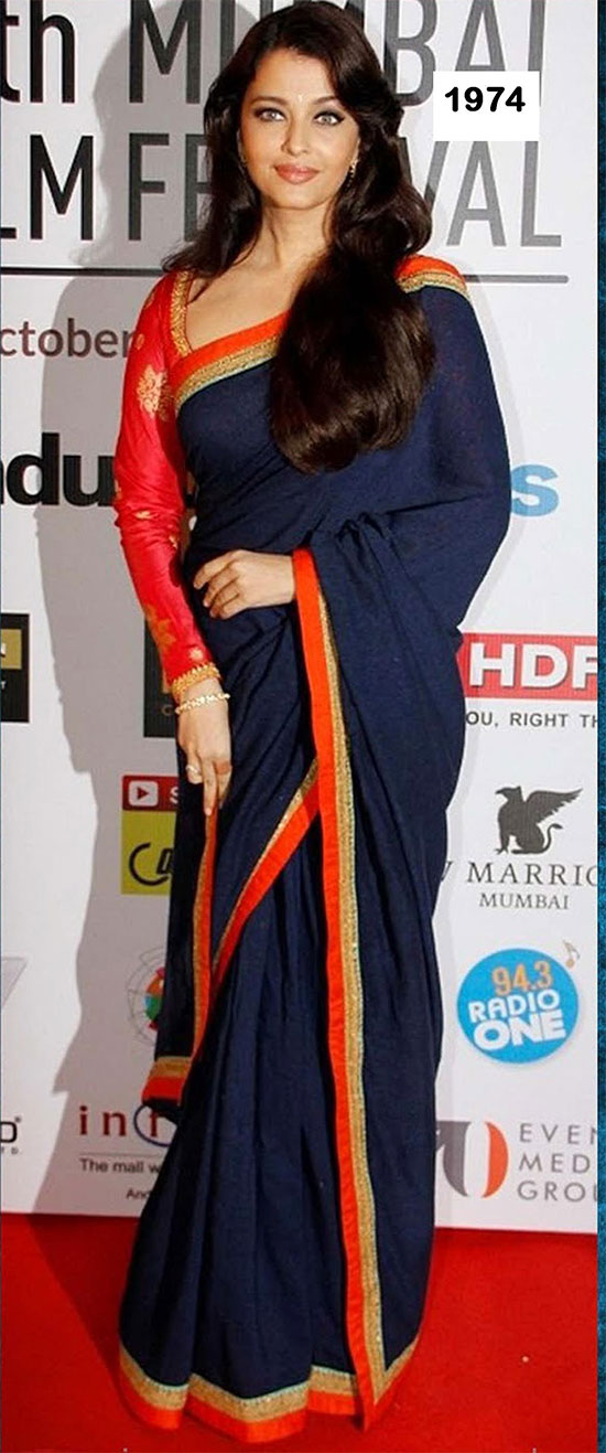 aishwarya-rai-in-black with red border-saree