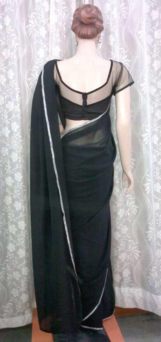 black half net blouse