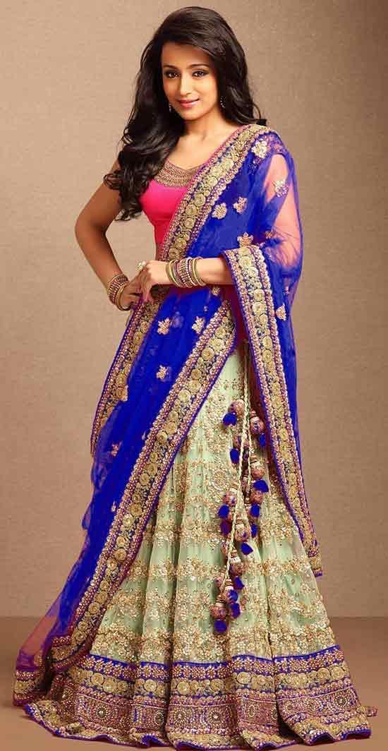 embroidered net unstitched lehenga saree