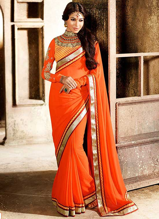 girlish orange georgette saree