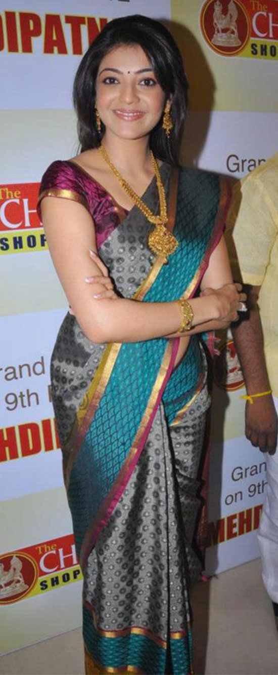kajal agarwal in Charcoal blue saree
