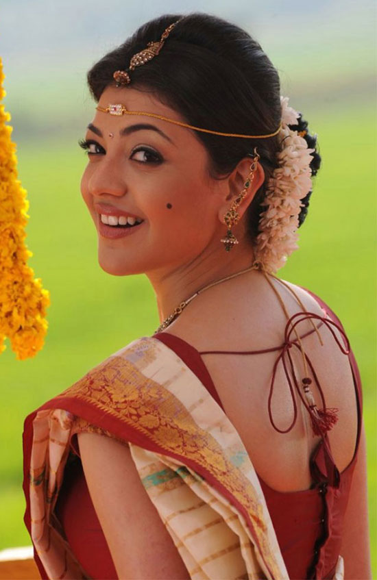kajal agarwal in Cream color Saree