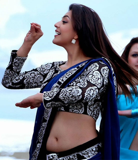 kajal agarwal in Dark blue Saree