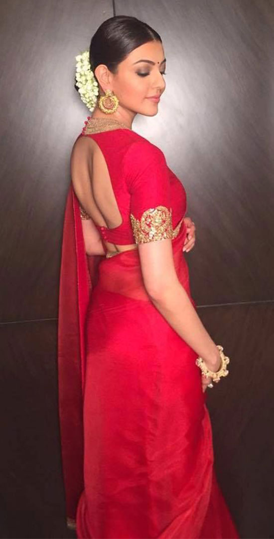 kajal agarwal in Red Saree