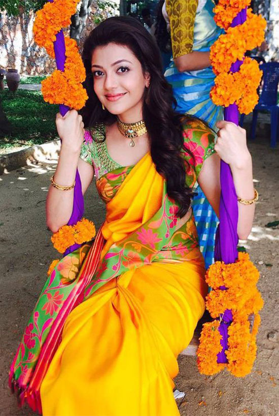 kajal agarwal in lemon yellow Saree